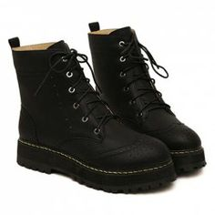 $19.10 Vintage Women's Matin Boots With Engraving and Lace-Up Design