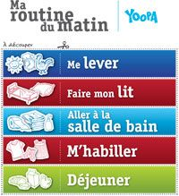 Routine du matin à découper | Une vie de famille équilibrée | Yoopa.ca Education Positive, Kids Education, Learning Activities, Activities For Kids, Organization Bullet Journal, Core French, Diy Back To School, French Classroom, Behaviour Chart