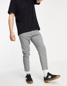ASOS DESIGN tapered cropped suit pants in library check Asos, Trouser Suits, Trousers, Pantalon Costume, Sweatpants, Design, Fitness, Products, Fashion