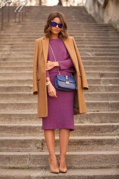 PFW Day 1 - Alexandra wearing Fashion Pills Top and Bottom, Zara Coat, Mango Heels and Valentino Bag.
