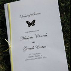 Butterfly Order of Service