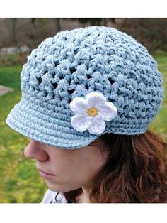 Breezy Brimmed Beanie Crochet Pattern Download from e-PatternsCentral.com -- You'll love this trendy newsboy cap pattern, worked with double strands of yarn. Add the mini Mary Jane-style strap or a flower to give it a different look.