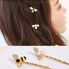 4 Pcs Cute Bees Crystal Wings Hairpins Decorations Hair Accessories Clips for…