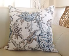 Cushion Cover Only These stunning Hamptons Style cushions will compliment many decor styles. The Classic Floral Bronte Sky cushion works beautifully with the Aqua Fretwork cushion also available in my store. Follow this link if you are looking for a coordinating cushion.  https://www.etsy.com/au/listing/255924747/cushion-aqua-cushions-aquamarine-pillows  It has an invisible zipper and all seams are overlocked.  To minimise the cost I have used a plain natural col...