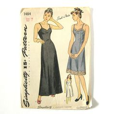 Vintage Sewing Pattern 1940s / Full DRESS SLIP by SelvedgeShop