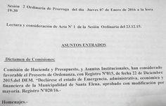 HOY SESIONA EL CONCEJO DELIBERANTE Y TRATA LA EMERGENCIA ECONÓMICA, FINANCIERA Y ADMINISTRATIVA - SANTA ELENA DIGITAL