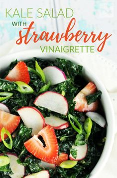 Put a springy twist on a Kale Salad with Strawberry Vinaigrette!