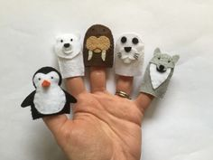 Polar Arctic Animals Felt Finger Puppets (Penguin, Polar Bear, Walrus, Seal, Wolf), Set of 5 - FREE SHIPPING