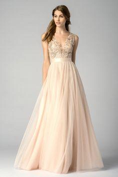 sequined v-neck floor length blush bridesmaid dress