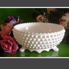 Fenton hobnail milk glass candy dish.Our Mom collected Fenton milkglass and I love the hobnail pieces!