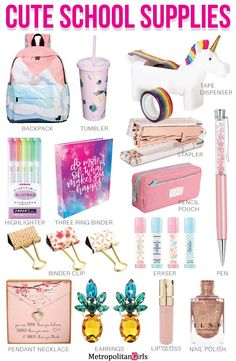Cute 16 Back to School Supplies for Teen Girls 16 Cute Back to School Supplies For Teens. Stationery for tween girls. The post Cute 16 Back to School Supplies for Teen Girls appeared first on School Diy. Back To School Supplies For Teens, School Supplies Highschool, School Kit, Cool School Supplies, School Supplies Organization, Back To School Organization For Teens, Back To School Essentials For Teens, Room Organization, Cute Stationary School Supplies