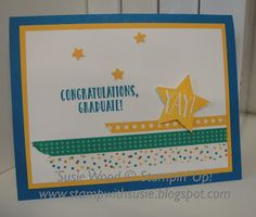 Stampin' Up!- A clean & simple graduation card, using Washi Tape & the 'Confetti Celebration' stamp set!