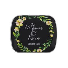 yellow botanical Wedding favor Jelly bean tin Jelly Belly Candy Tins - kitchen gifts diy ideas decor special unique individual customized