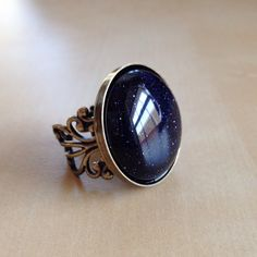 "Blue Goldstone Ring - High Quality Antique Bronze Filigree Adjustable Band, 25mm (1"") Cabochon, Night Sky, Stars, Healing Stones, Chakras"