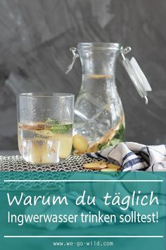 Ingwerwasser ist gesund! Das Ingwer Zitronen Wasser regt den Stoffwechsel an und hilft dir beim Abnehmen. Für das Ingwerwasser Rezept klicke hier! #ingwerwasser #diät #abnehmen #gesund #rezepte
