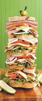 Stack sandwiches on sub roll rounds in center of the tea tray creating a center piece worthy of Shaggy & Scooby! (Put a skewer through the center to hold them together perfectly ) Dagwood Sandwich, National Sandwich Day, Depression Era Recipes, Sub Rolls, Shaggy And Scooby, Thing 1, Tea Tray, Skewers, So Little Time