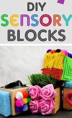 Easy and fun DIY sensory blocks Baby Sensory, Sensory Toys, Sensory Activities, Infant Activities, Activities For Kids, Sensory Blocks, Best Baby Toys, Infant Classroom, Sensory Bottles