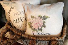 DIY Hydrangea Drop Cloth Transfer Pillow