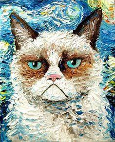 Grumpy Cat on a Starry Night. pro Aja na página da Sagittarius Gallery em New York.