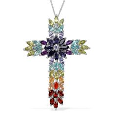 Liquidation Channel | Multi-Gemstone Cross Pendant with Chain in Platinum Overlay Sterling Silver (Nickel Free)