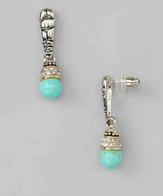 Take a look at this Turquoise & Diamond Drop Earrings by Regal Jewelry on #zulily today!