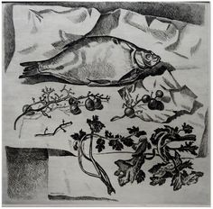 "Victor Shmokhin. ""Натюрморт с воблой"" 1966г. Бумага/офорт 32,5х36,0."