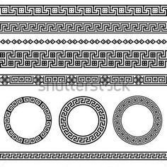 Greek Traditional Meander Border Vector Antique Frame Decoration Element Patterns IN Black and White Ethnic Vector stock vector - Clipart.me