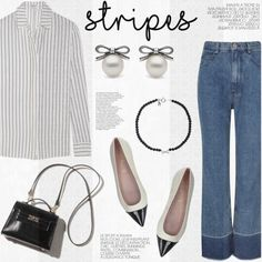 One Direction: Striped Shirts by littlehjewelry on Polyvore featuring Frame Denim, Rachel Comey, Pretty Ballerinas, stripes, contestentry, pearljewelry and littlehjewelry