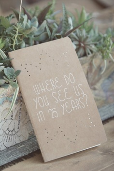 Put one of these notebooks on each guest table with different questions for each table to answer and jot down for the newlyweds. A great hand written wedding keepsake. - Click image to find more weddings Pinterest pins