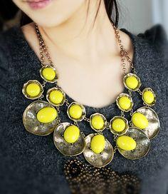 Yellow Gemstone Retro Gold Round Necklace