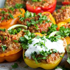 Stuffed Peppers with Pork, Rice