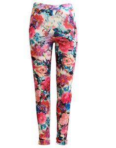 Cream Pocket Front Pink Floral Print Crepe Leggings