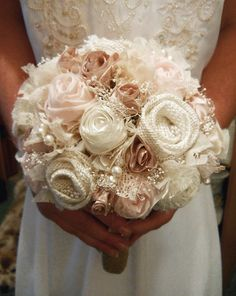 Handmade Petal Pink Bridal or Bridesmaid Bouquet by PapernLace, $75.00