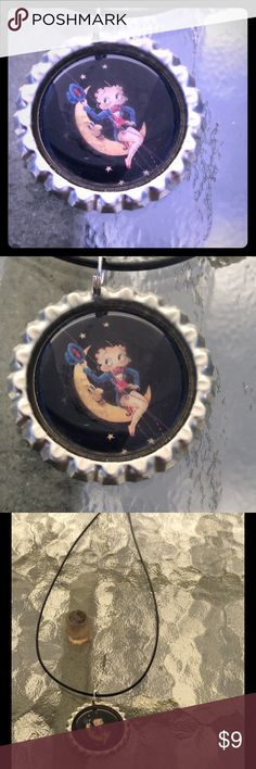 NWOT betty boop on moon  bottlecap necklace NWOT betty boop on moon  bottlecap necklace Jewelry Necklaces