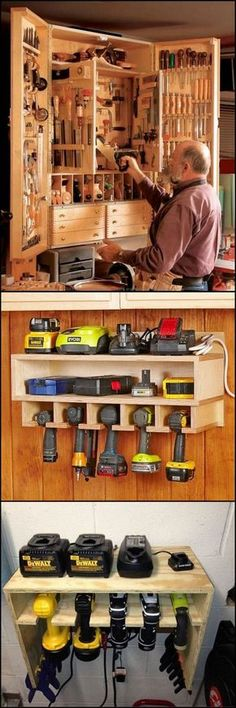 clever idea on how to organize and store the tools in your workshop Rangement de Garage Tool Storage Ideas Workshop Storage, Garage Workshop, Shed Storage, Garage Storage, Diy Workshop, Workshop Design, Craft Storage, Workshop Cabinets, Clever Storage Ideas