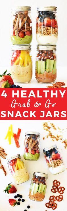 4 Healthy Grab-and-Go Snack Jars   healthy snack recipes, healthy snack jars, easy snack recipes, how to make a snack jar, healthy snack ideas, snack recipes healthy, snack jar ideas, on the go snack ideas    The Butter Half via @thebutterhalf via @thebut