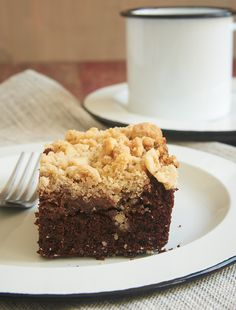 Chocolate cake, sweet cream cheese, and a nutty crumb topping combine to make this fantastic Chocolate Cream Cheese Coffee Cake! - Bake or Break ~ http://www.bakeorbreak.com