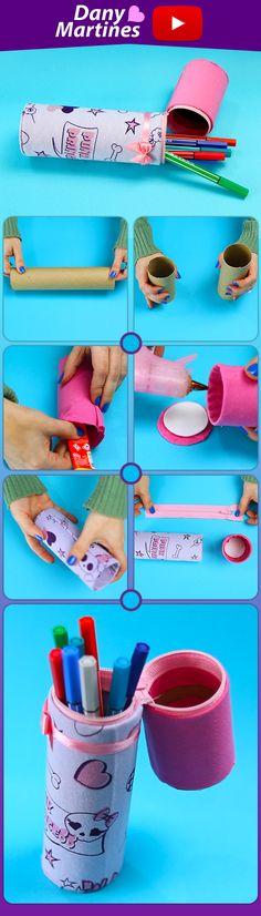 Faça você mesmo um Estojo escolar, reciclando um tubo de papel. DIY, Do It Yourself, como fazer um estojo barato, estojo reciclado, Do lixo ao luxo