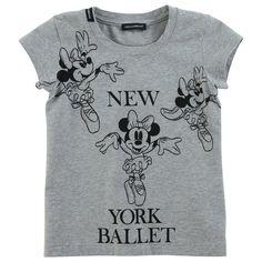 Jersey stretch gris chiné. Col rond ras du cou. Manches courtes. Minnie imprimée devant. © Disney