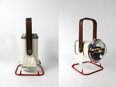 Reclaimed 1940's railroad lantern. Updated with bent rosewood handle, creme paint, red rubber dipped base.