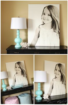 Using a large canvas as a 'desk print' to show your clients how to GO BIG even when they're used to traditional 5x7s.