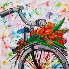 Tulpen op de fiets www.vrolijkschilderij.nl