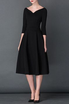 $69.99 Black V Neck 3/4 Sleeves Pleated Dressproducts_id:(1000012971 or 1000012531 or 1000012675 or 1000012440)