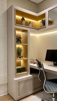 Room Design Bedroom, Bedroom Furniture Design, Home Room Design, Modern Bedroom, House Design, Modern Home Offices, Small Home Offices, Study Room Design, Small Room Design