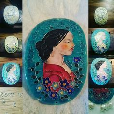 A pendant is an interpretation of Carmen Duchesse de Montmorency's portrait (Franz Xaver Winterhalter, 1860). It is incircled by a quote of Lord Byron and a bouquet of forget-me-not flowers.  Silver, hot enamel (cloisonné).  Photo: Smallthingscount. Follow on Fb: Smallthingscount.