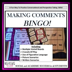 SOCIAL SKILLS~Conversation: Making Comments BINGO.  This interactive CONVERSATION activity is great for supporting students who need practice RESPONDING to others and with general conversational skills. It is also helpful for those who need practice with PERSPECTIVE TAKING.  https://www.teacherspayteachers.com/Product/SOCIAL-SKILLS-Making-Comments-BINGO-k-5th-Grade-OR-Ability-Level-1145850