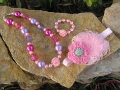 3 Pieces Set Shabby headband chunky necklace and by Bowszigzag, $25.00