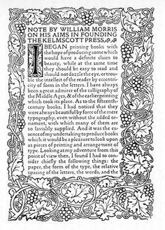 William Morris et la Kelmscott Press (1890) — signes