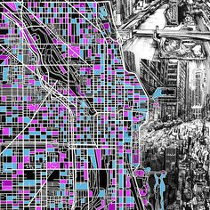 Chicago Map Drawing Collage 4 by MB Art factory