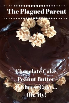 Chocolate cake, peanut butter filling with a peanut butter cheesecake covered in chocolate ganache . Chocolate Peanut Butter Cheesecake, Peanut Butter Filling, Chocolate Ganache, Dessert Cake Recipes, Dessert Ideas, Snack Recipes, Kinds Of Desserts, Easy Desserts, Delicious Desserts